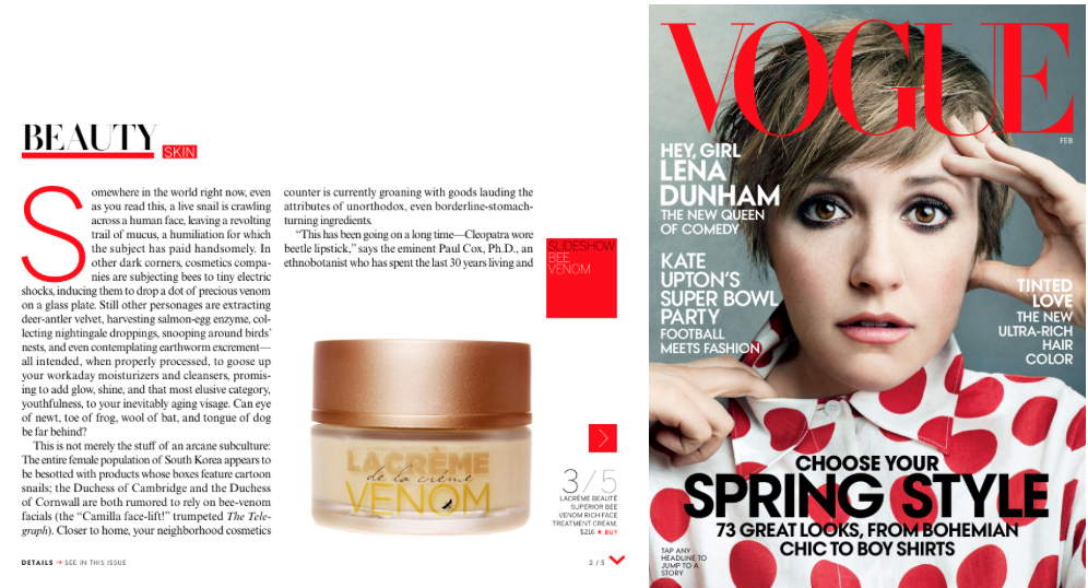 Lacréme Beauté featured in Vogue Magazine.