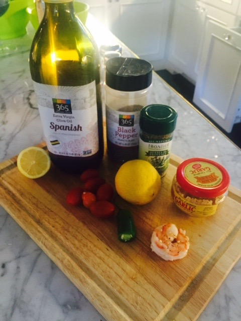 A few simple ingredients.  Dinner prep time took me about 30minutes. I put on my favorite Pandora Station- Tropical Jazz and I enjoy every minute.
