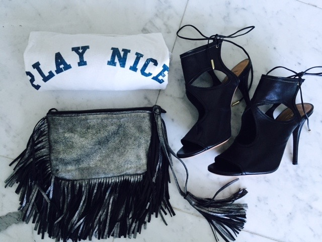 How happy was I to get home and unwrap my enshalla fringe pouch, Aquazzara Heels, and my PLAY NICE T SHIRT- MOTHER DENIM /  PLAY NICE CAMPAIGN   Thank you Norma and Nicloe  for a perfect afternoon of shopping and lovely conversation. I can't wait to come back and shop and see you both!     GRATEFUL