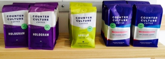 Coffees are supplied by Counter Culture.  Incredible coffee with a happy story.  /  Fresh baked items from Larder Baking Company.  Larder provides whole, natural and organic food.