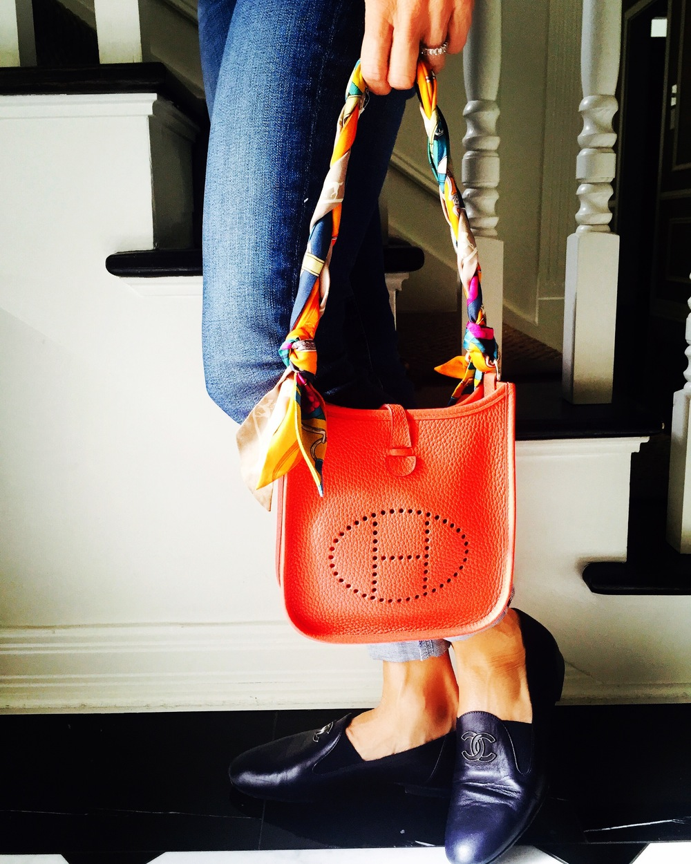 b91f89df02eb Spruce up your bag and your day with Twilly Scarves. AG JEANS / CHANEL  LOAFERS / HERMES EVELYN BAG /