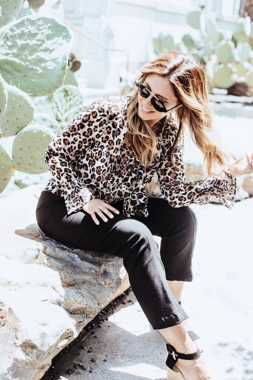 Melissa Meyers wearing Petite  Janet Tie-Top in Leopard