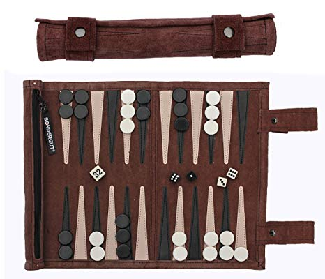 Sondergut Roll-Up Suede Backgammon Game
