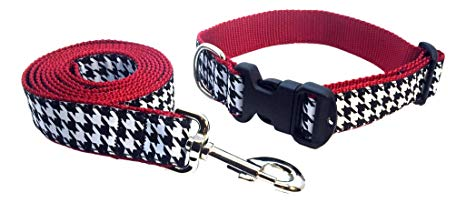 Preston Houndstooth Dog Collar and Leash Set