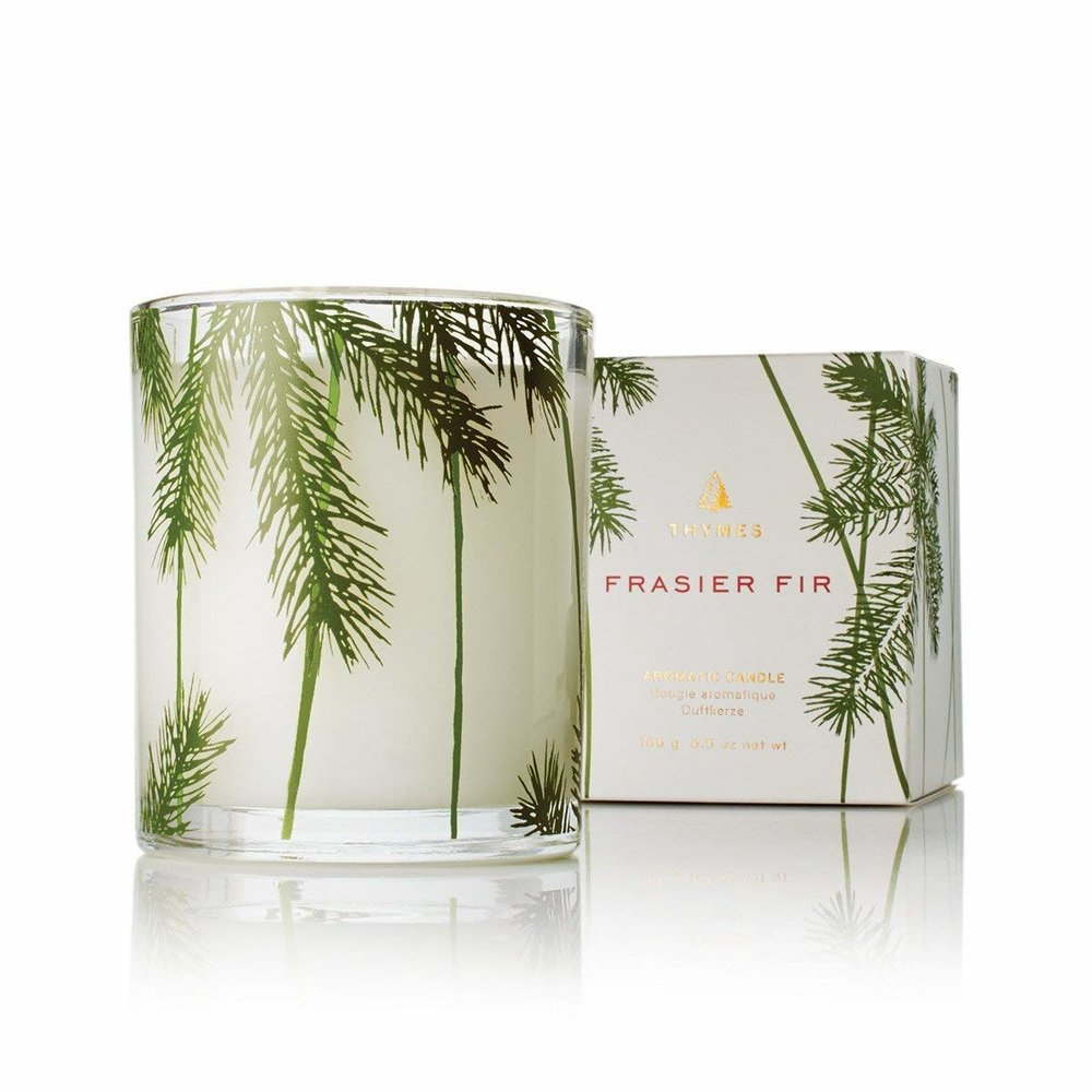 Frasier Fir Pine Needle Decorative Glass Jar Candle