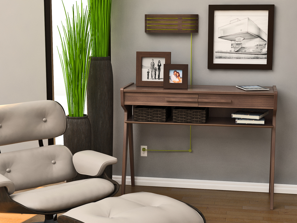 Home Audio System Bent Wood Room