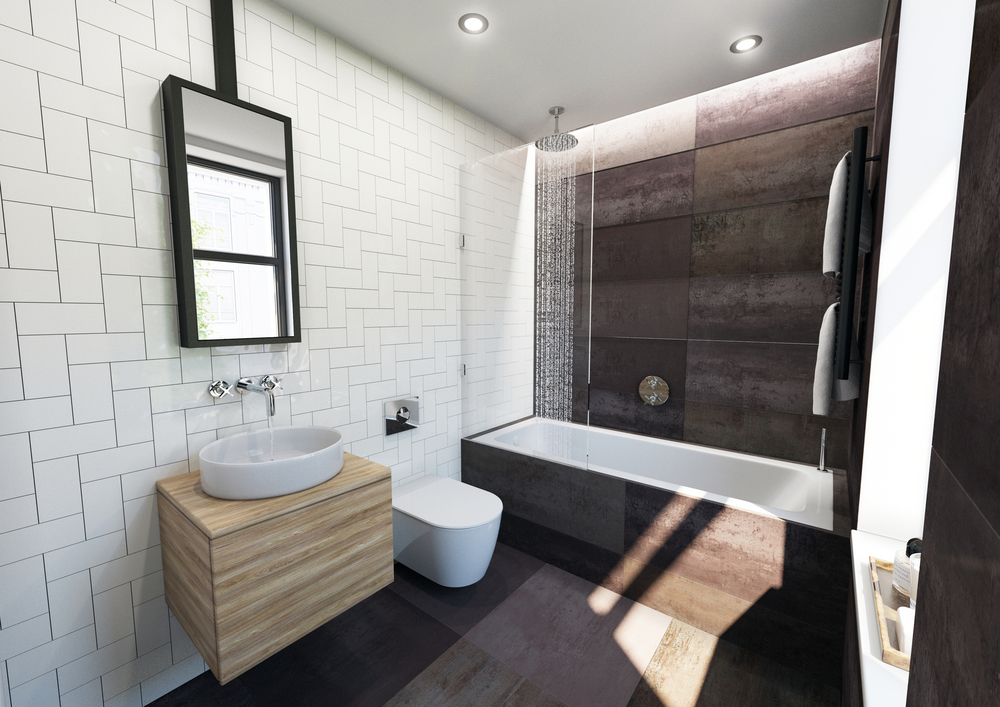Visuals and Video - Brown tiles Bathroom interior