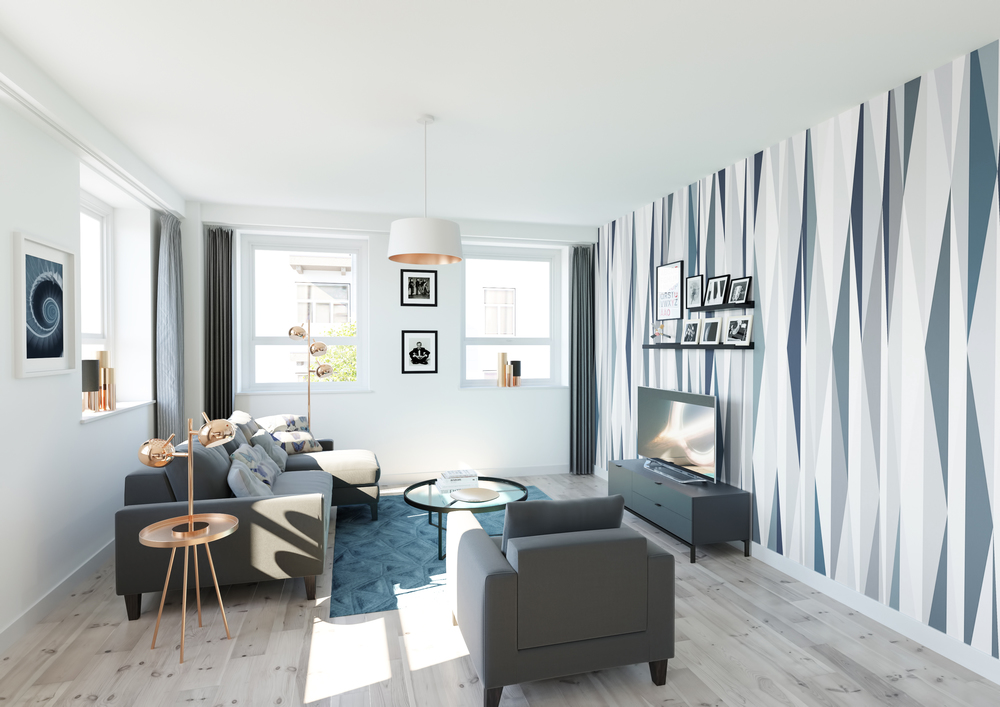 Visuals and Video - Blue, copper, living Room interior