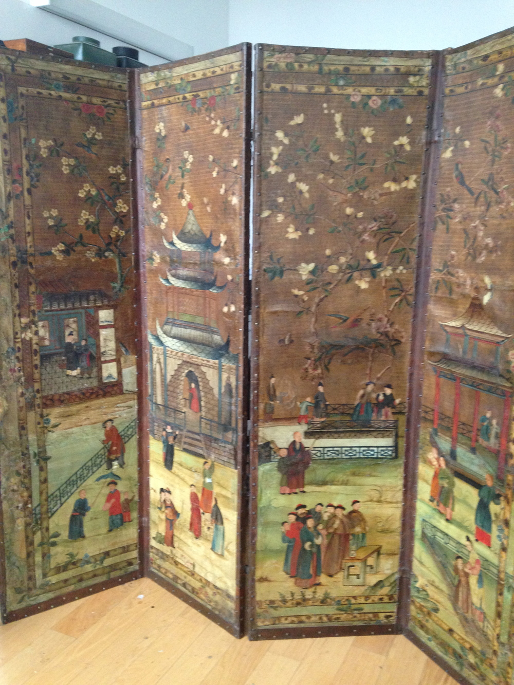 18th century dutch leather screen after restoration