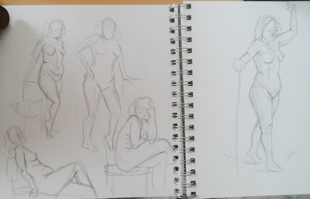 Some 2 minute and one 5 minute gestures  using   The Croquis Cafe  for model reference.