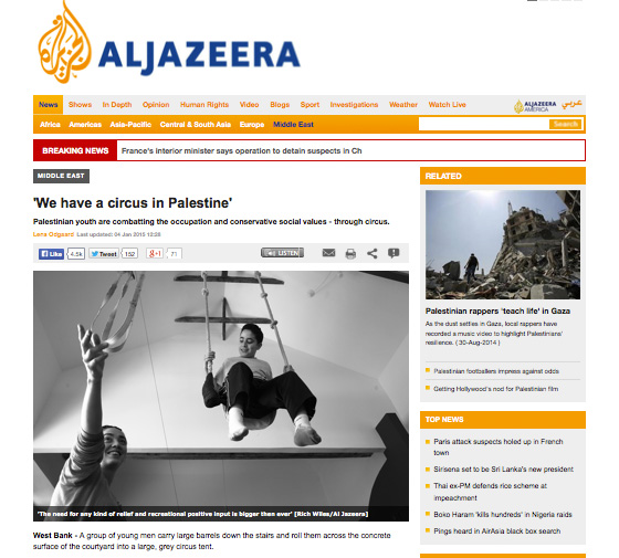 Screenshot of the article on the front page of Al Jazeera's website