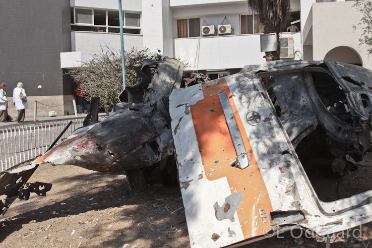 Destroyed ambulances at Al Shifa Hospital Gaza