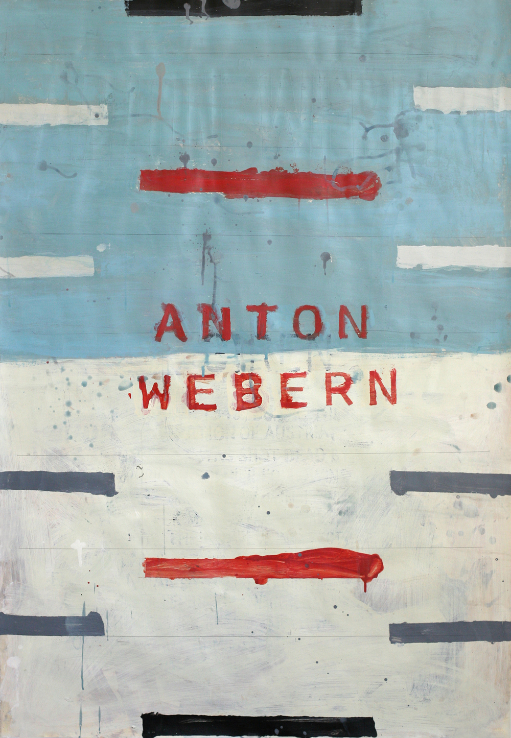 "Anton Webern, acrylic and paste on paper on board, 48"" x 34"" (private collection)"