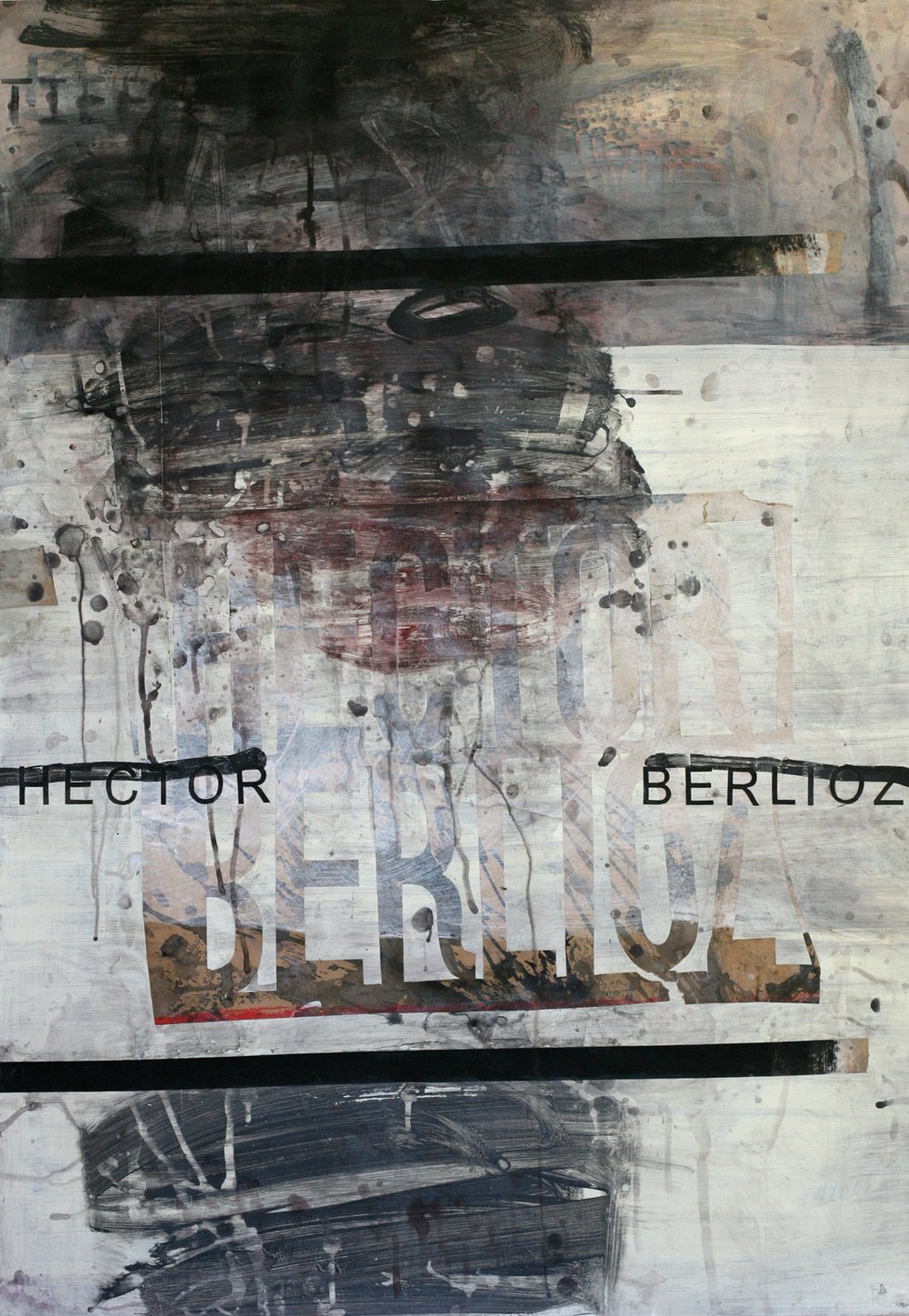 "Hector Berlioz, acrylic and paste on paper on board, 48"" x 34"""