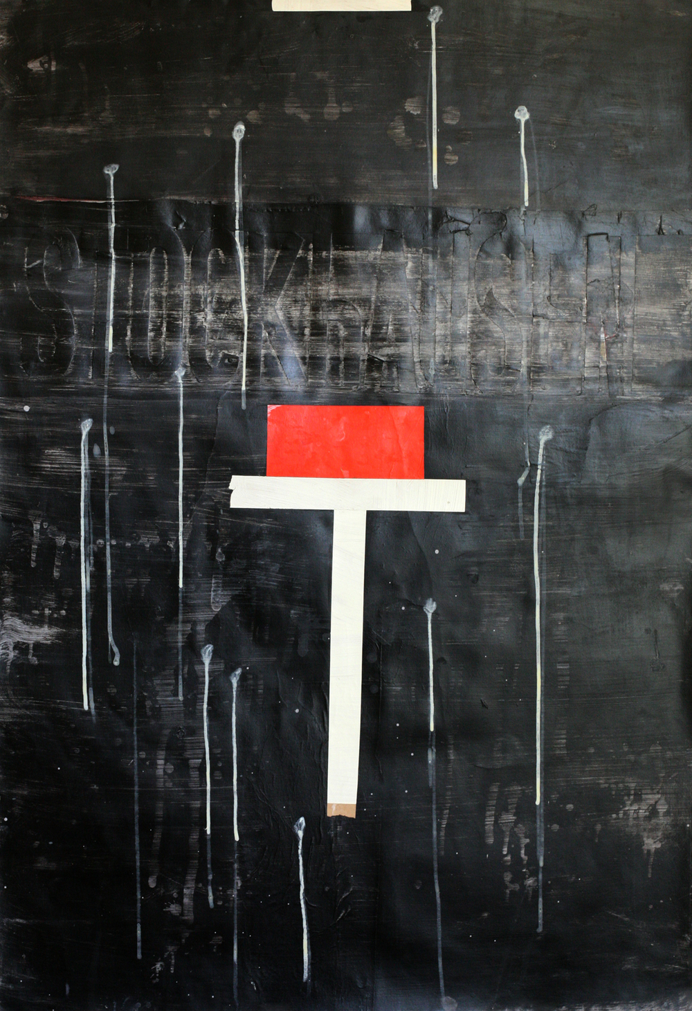 "Karlheinz Stockhausen, acrylic and paste on paper on board, 48"" x 34"""