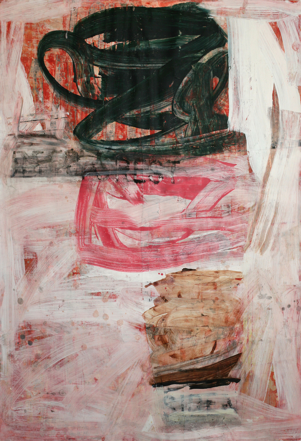 "Louis Andriessen, acrylic and paste on paper on board, 48"" x 34"""