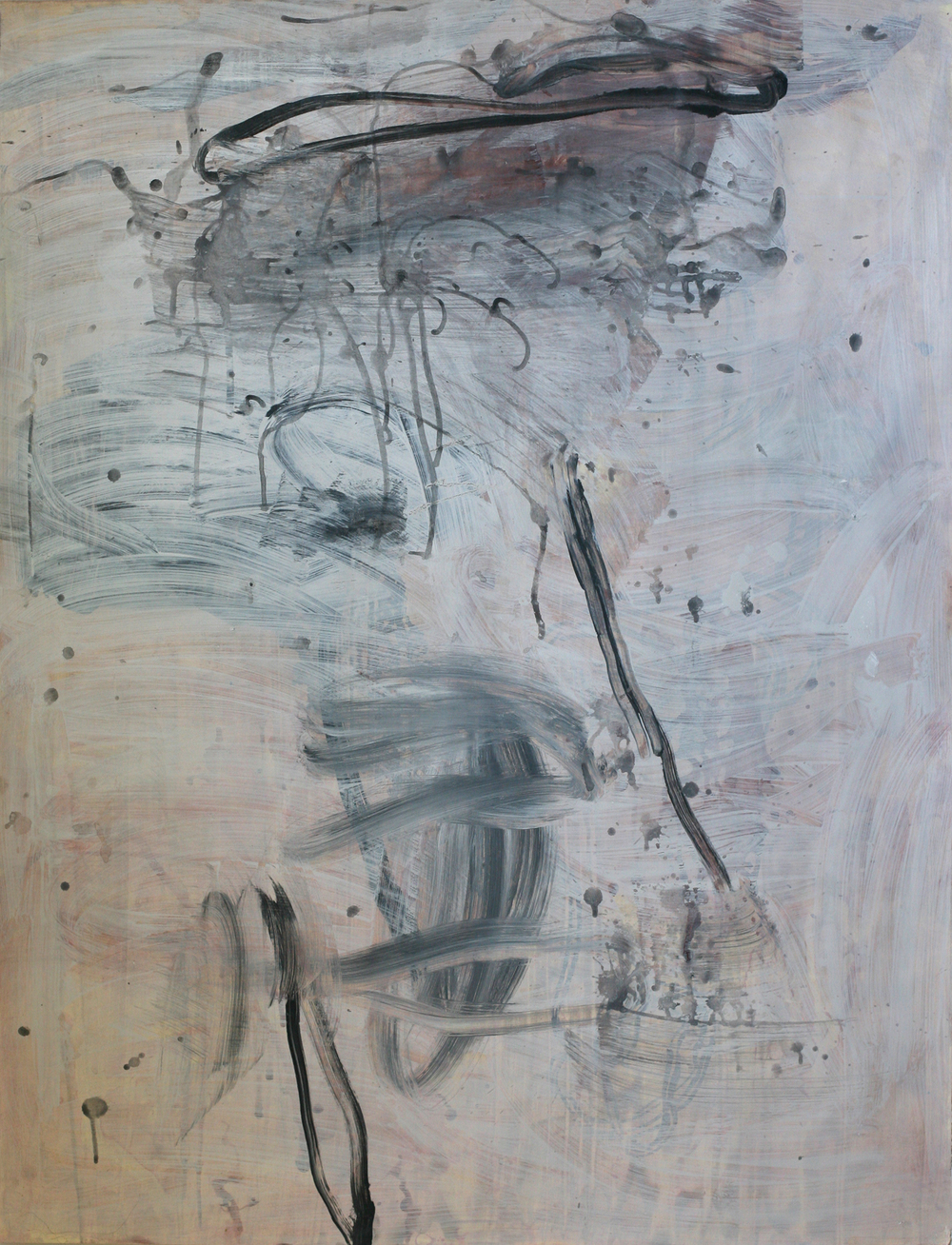 "Milarepa 01, acrylic and paste on paper on board, 50"" x 38"" (private collection)"