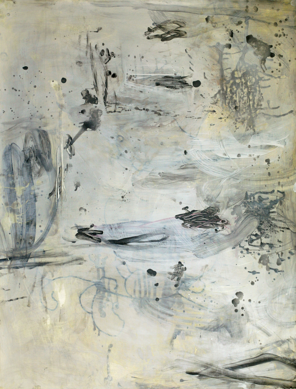 "Milarepa 07, acrylic and paste on paper on board, 50"" x 38"" (private collection)"