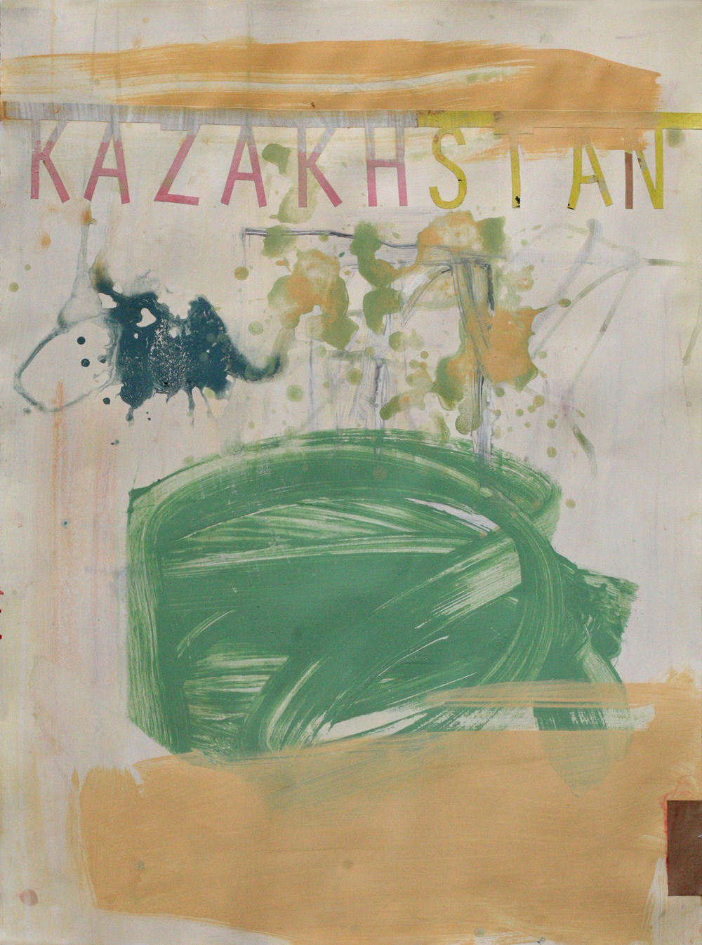 "Kazakhstan, acrylic on paper on board, 30"" x 22"""