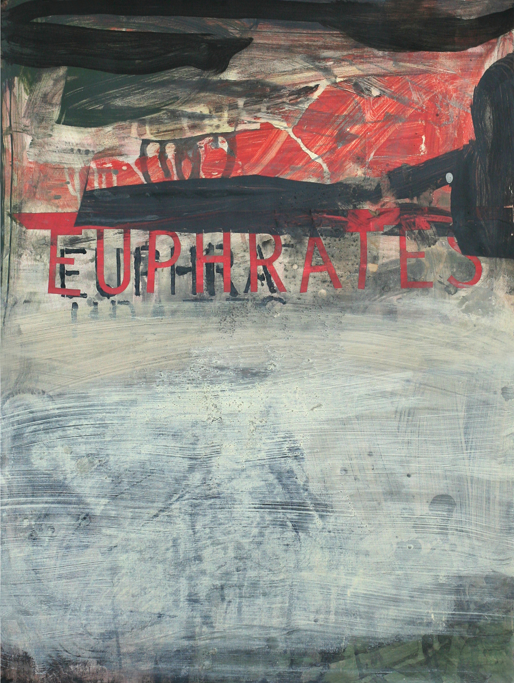 "The Euphrates, acrylic on paper on wood, 30"" x 22"""