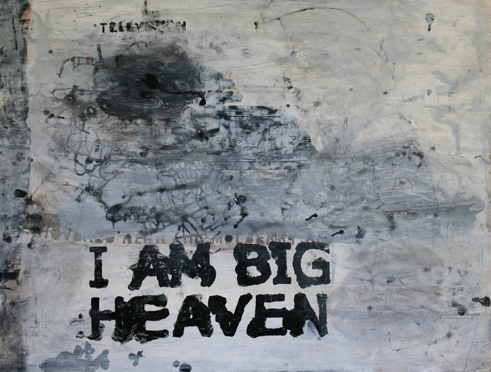 I Am Big Heaven, acrylic and paste on paper