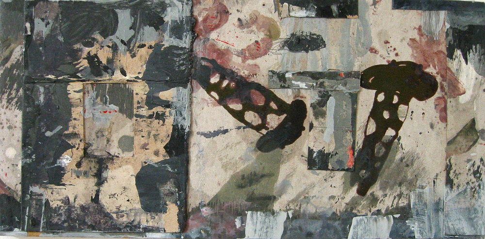 Dialogue, diptych, cardboard, letterpress, and acrylic