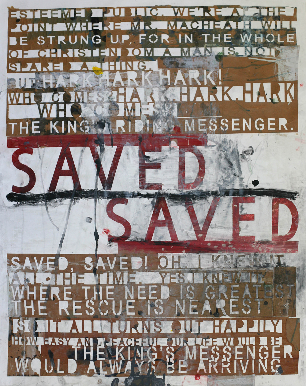 Saved (red), acrylic and paste on paper
