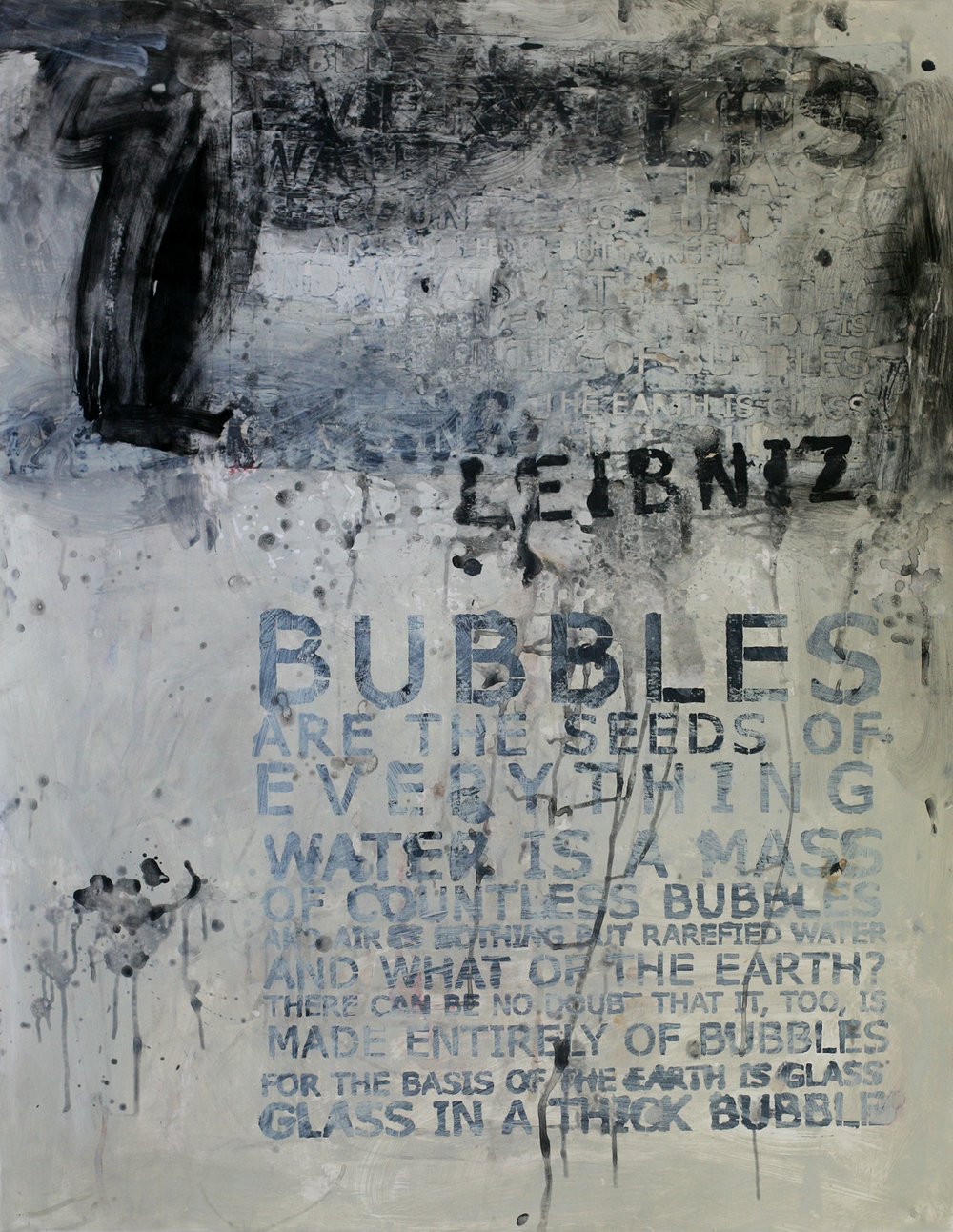 "Leibniz' Bubbles, 50"" x 34"", acrylic and paste on paper"