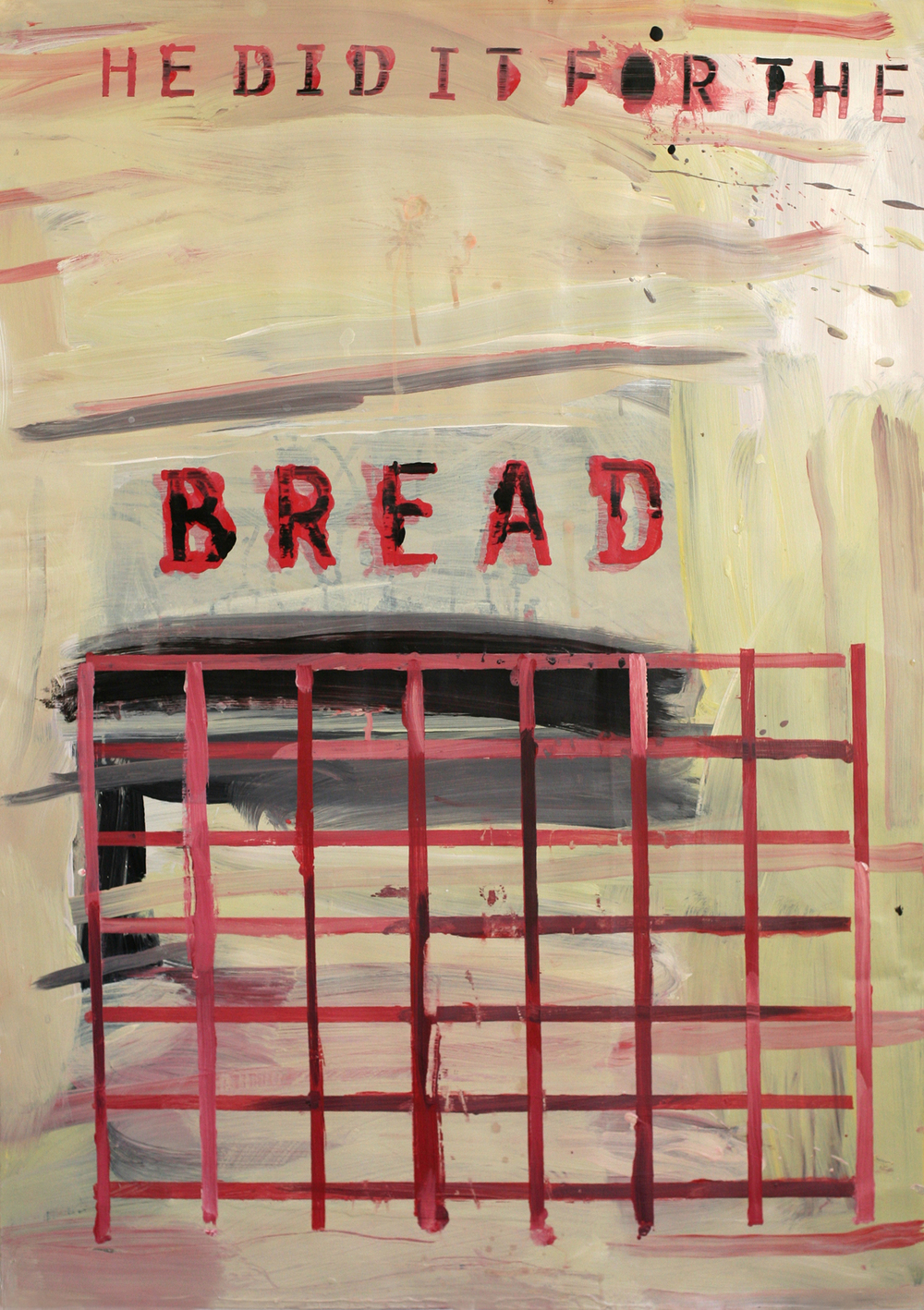 Bread, acrylic and paste on paper