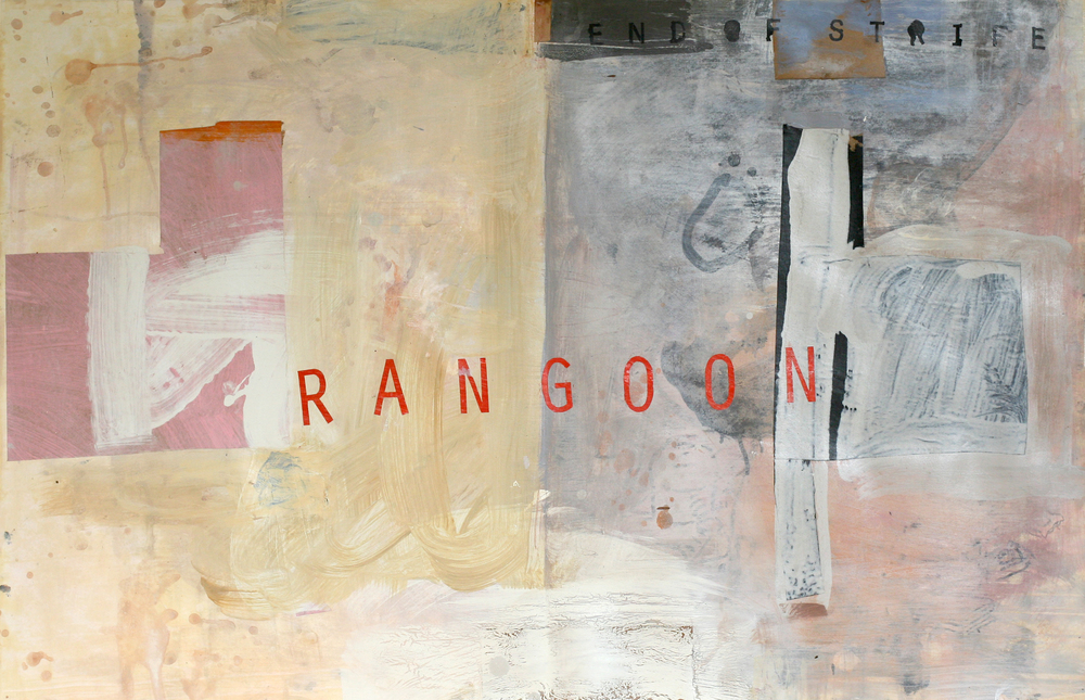 Rangoon, acrylic and paste on paper