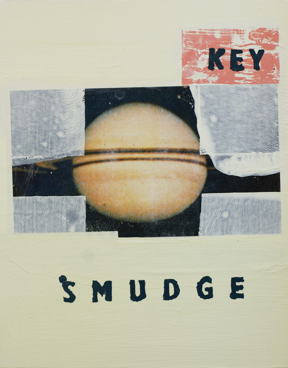 "The Key Smudge, acrylic and transfer on wood, 14"" x 11"""