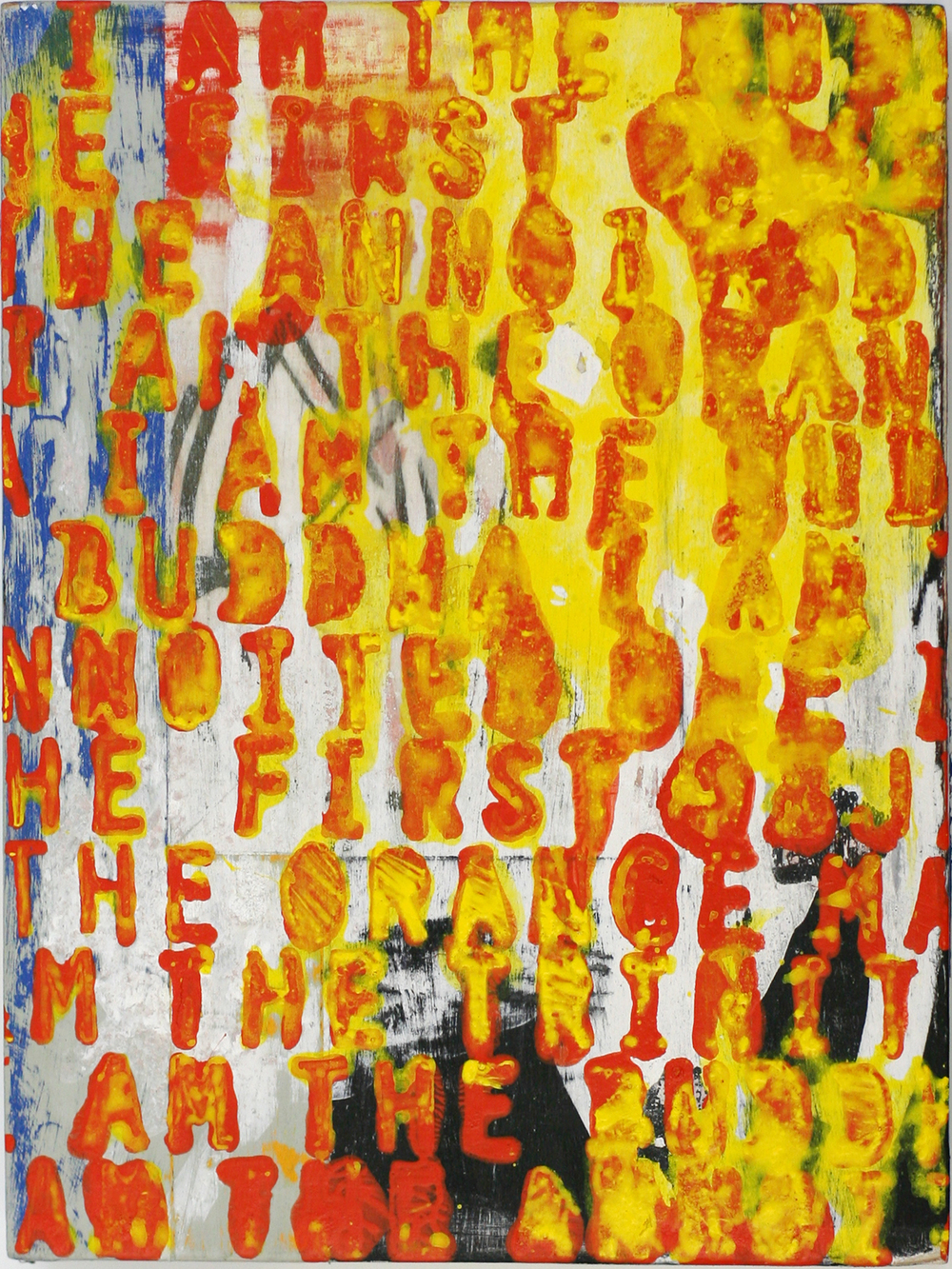I Am the Orange Man, acrylic on wood panel (private collection)