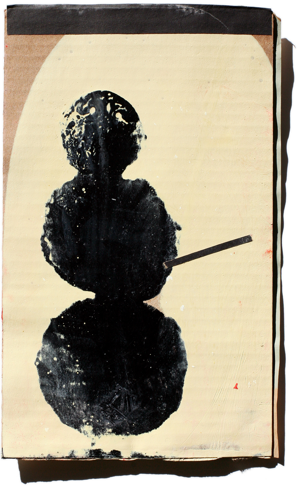 Snowman 04, mixed media on cardboard