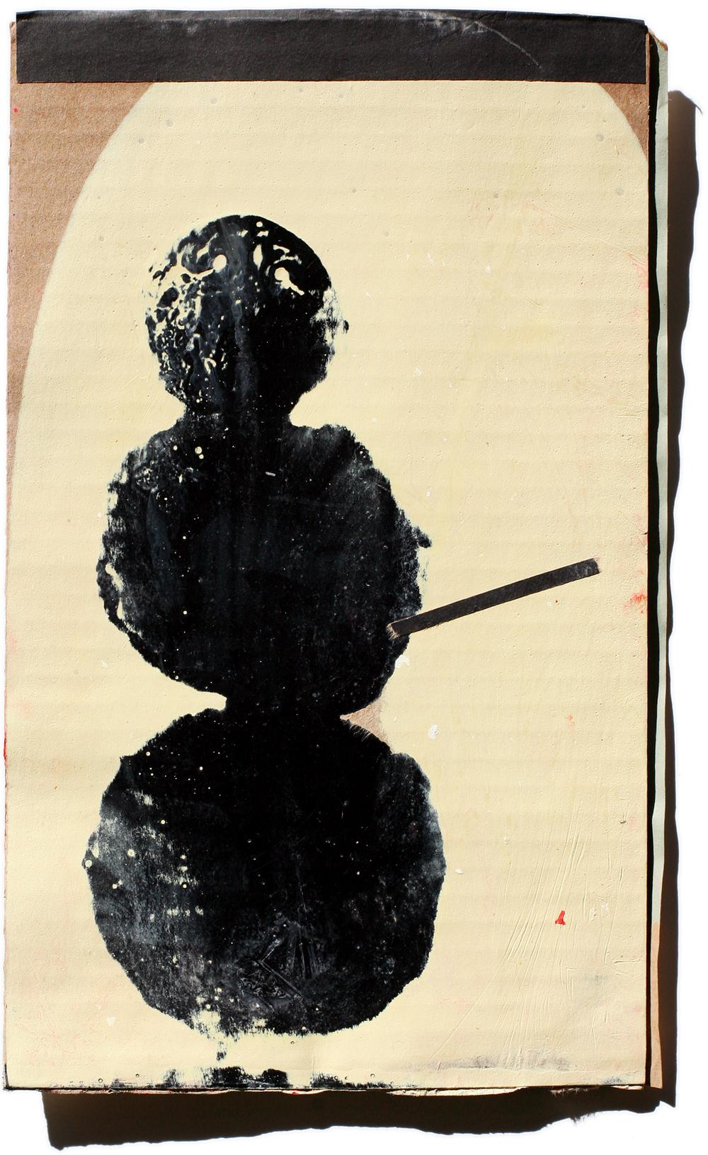 Snowman 04, mixed media on cardboard