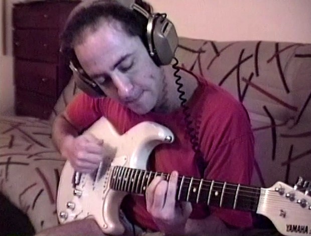 "Recording with ""smokin' babe"" guitar (1990)"