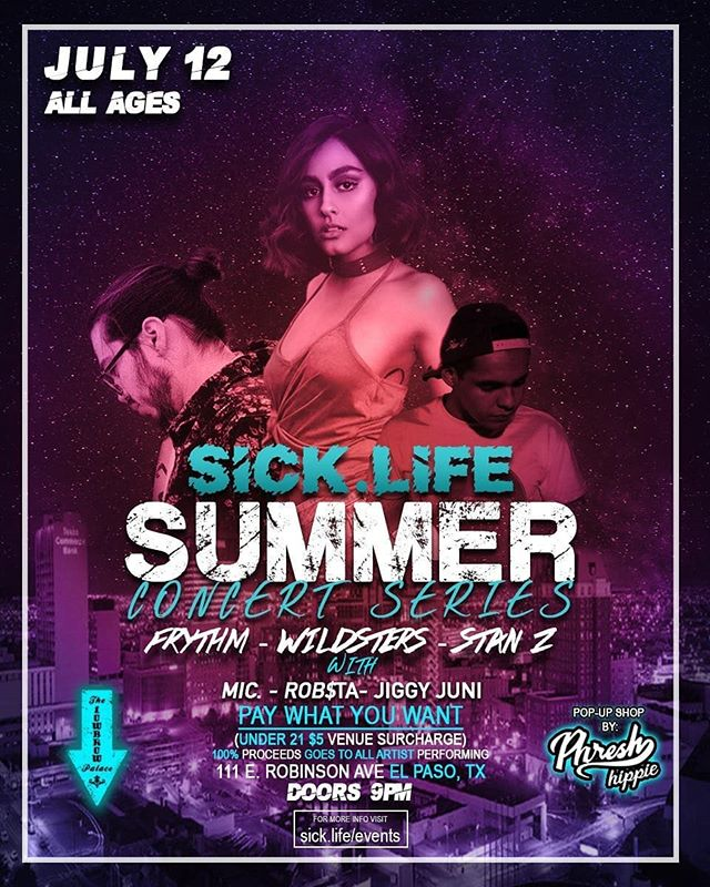 Tonight!!! Checkout @wildsters @stanzprod @frythm Performing LIVE @lowbrowpalace with @wearstrippy @_yaboim @spaced_king @jiggyjuni !! __ All Ages!! Hosted by @famousloza_24 No Tickets, Pay what you want at the door!! 100% of the proceeds goes to the Artists Performing!! __ Flyer by @big_stout #itsallgoodep #elpaso #texas #915 #support #sicklife #live #show #concert #summer2018
