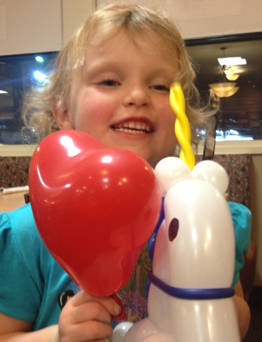 Balloon heart and unicorn