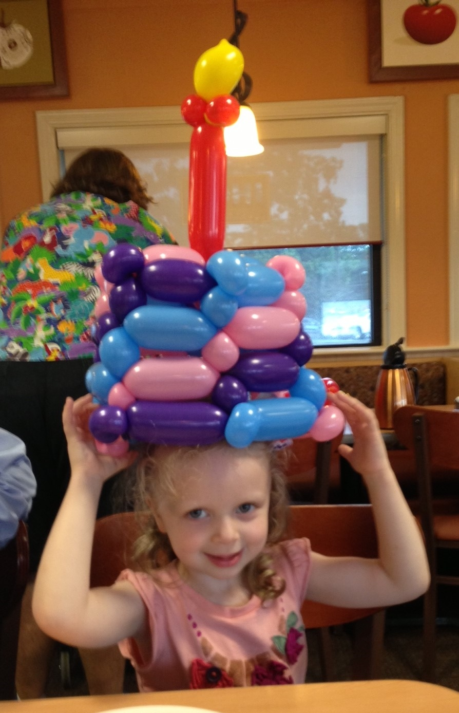 Balloon birthday cake hat