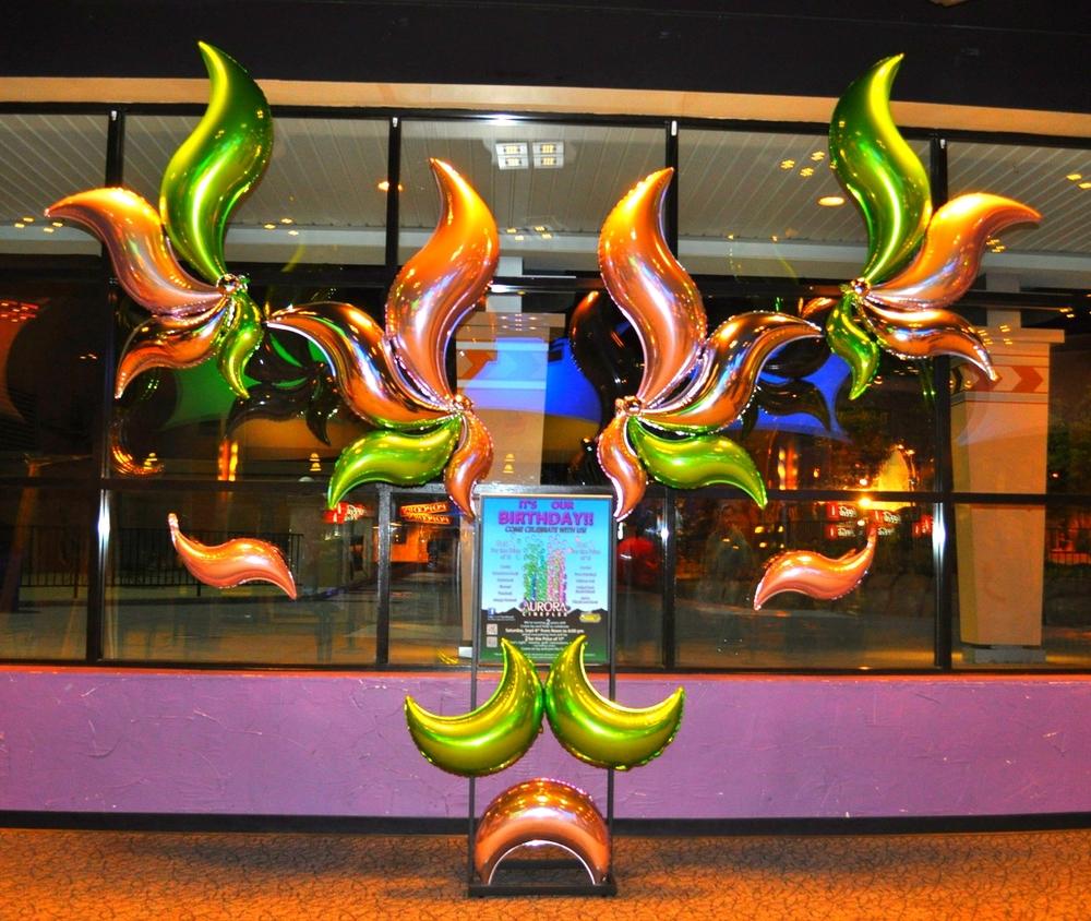 Retail balloon display for Aurora Cineplex's birthday