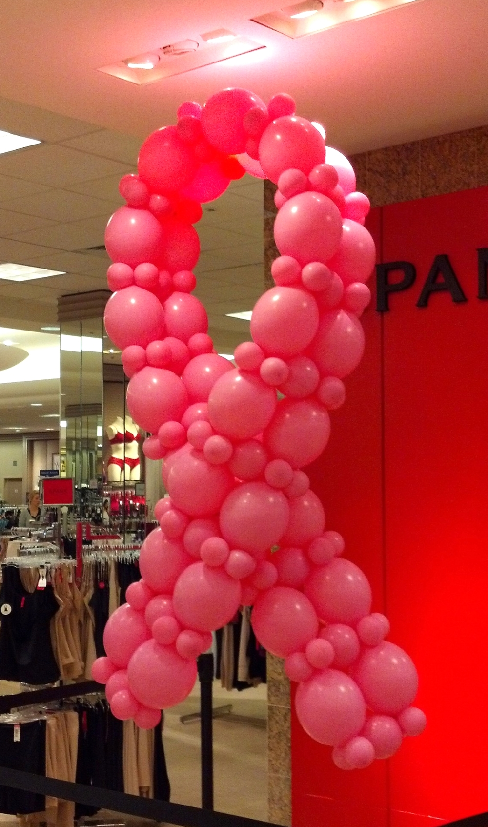Balloon Susan G. Komen ribbon for Dillards