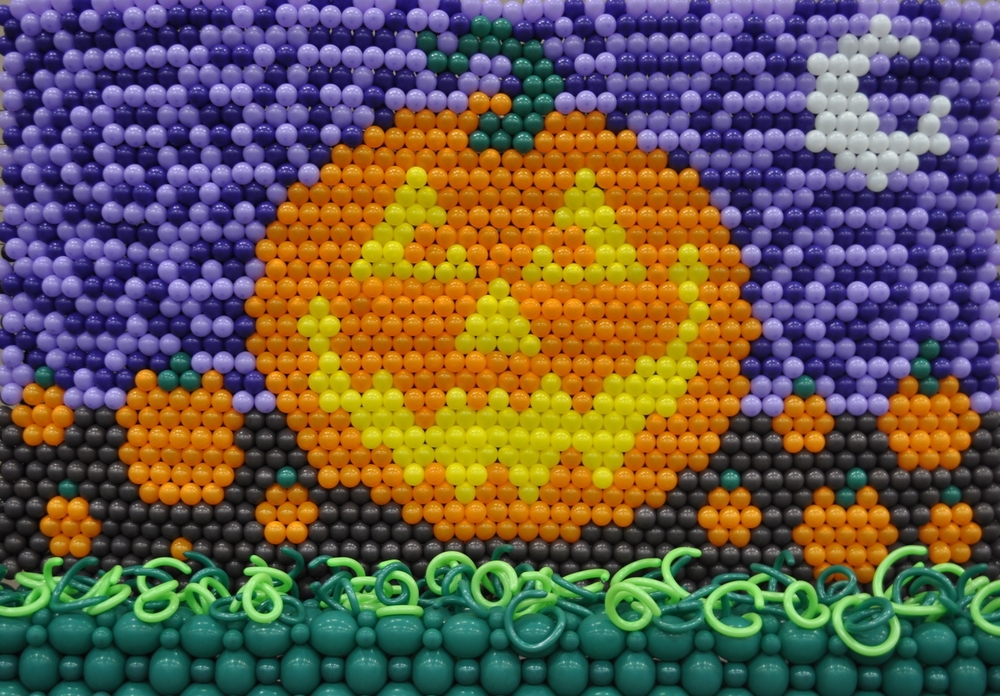 Balloon mural of a Jack 'O Lantern