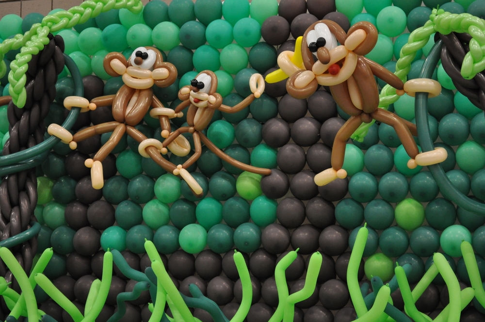 Balloon monkeys in a jungle