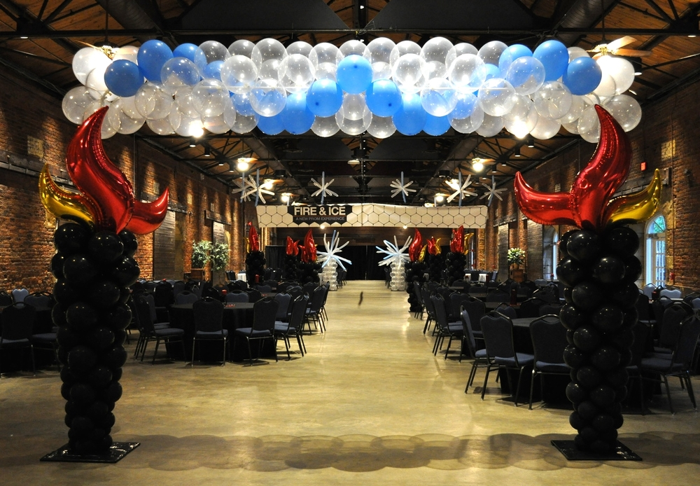 Fire and ice themed prom balloon decor