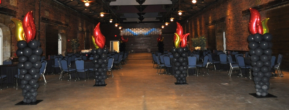 Fire and ice themed prom balloon decor fire side