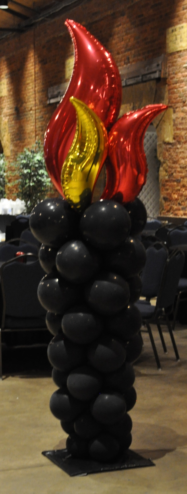 Fire and ice themed prom balloon torch column