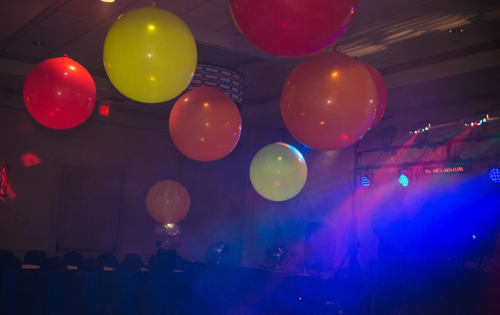 Doctor Who Bar Mitzvah dance floor giant balloons lit with batter powered lights