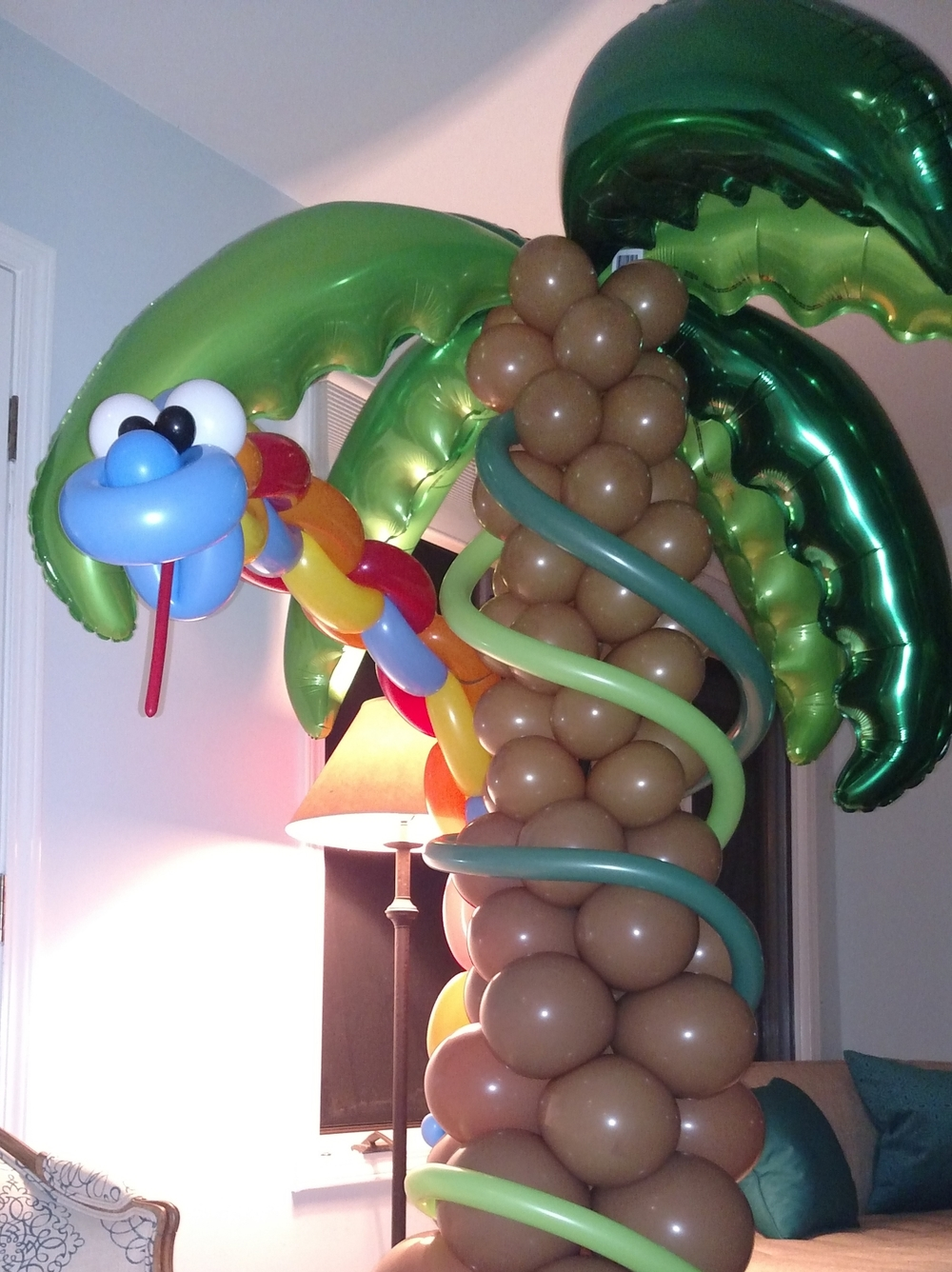 Jungle themed birthday party balloon python