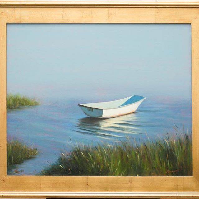 Come take a look at Mary Morant's fantastic paintings and monotypes. Designer and painter Mary Morant's use of light in her beach landscapes and still lifes are like none other.  Image: Mary Morant, Dinghy, Oil on silk.  #design #darien #gallery #fairfield #westport #beach #oil #oilpainting #boat #sea #paintingart #paintingsforsale #canvas #silk #dinghy #avenuegallery #gallery #painting #wilton #weston #westport #norwalk #norwalkart #contemporary #stamford