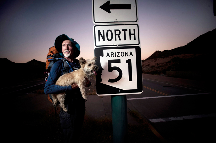 Arizona Hiking Shack Footwear and Backpack specialist Jim Holt with his Cairn Terrier Cooper.
