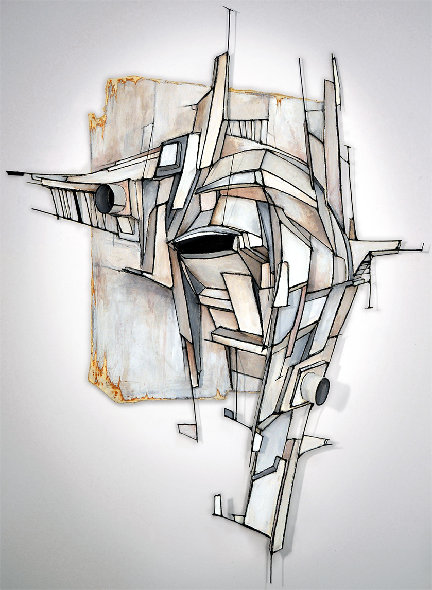 "ATREBAS  | ARCHIVAL BOARD & WIRE RELIEF, ACRYLIC ON WOOD | 58"" X 43"" X 11"""